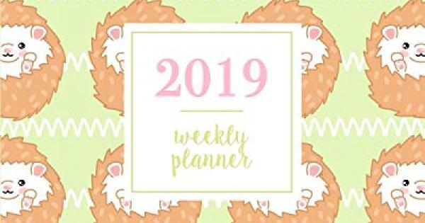 2019 weekly planner kawaii green avocados peach weekly and monthly standard professional calendar 1 january 31 december 2019